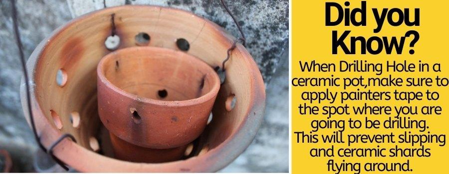 Drilling hole in ceramic pot